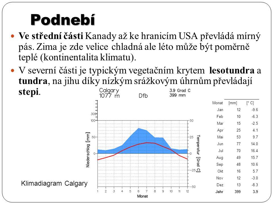 Podnebí Ve střední části Kanady až ke hranicím USA převládá mírný pás. Zima je zde velice chladná ale léto může být poměrně teplé (kontinentalita klim
