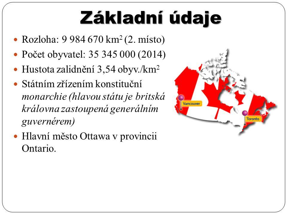 Vymezení Severní část Severní Ameriky Hranice s USA prochází Hořejším, Huronským, Erijským a Ontarijským jezerem, dále pak po 49.