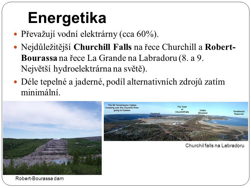 Energetika Převažují vodní elektrárny (cca 60%). Nejdůležitější Churchill Falls na řece Churchill a Robert- Bourassa na řece La Grande na Labradoru (8