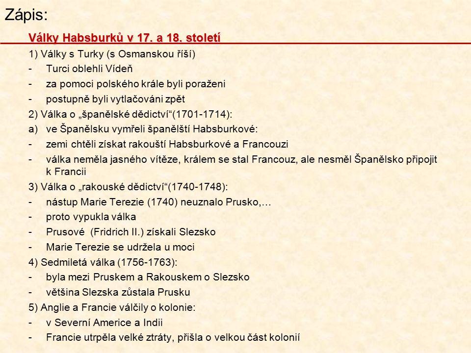 Zápis: Války Habsburků v 17.a 18.