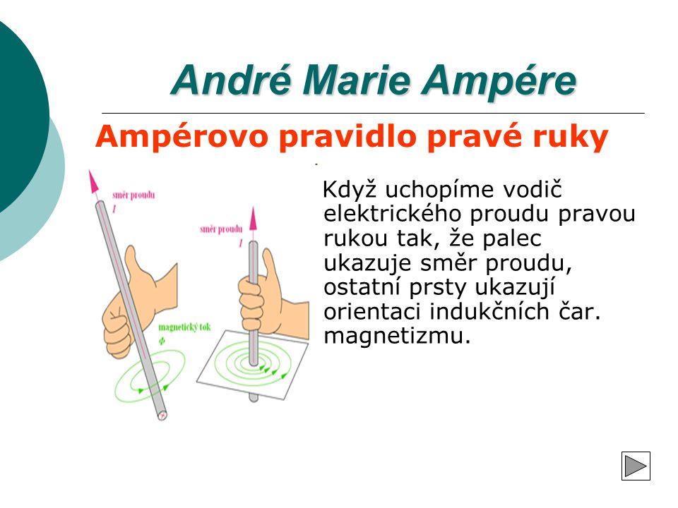 André Marie Ampére Když uchopíme vodič elektrického proudu pravou rukou tak, že palec ukazuje směr proudu, ostatní prsty ukazují orientaci indukčních