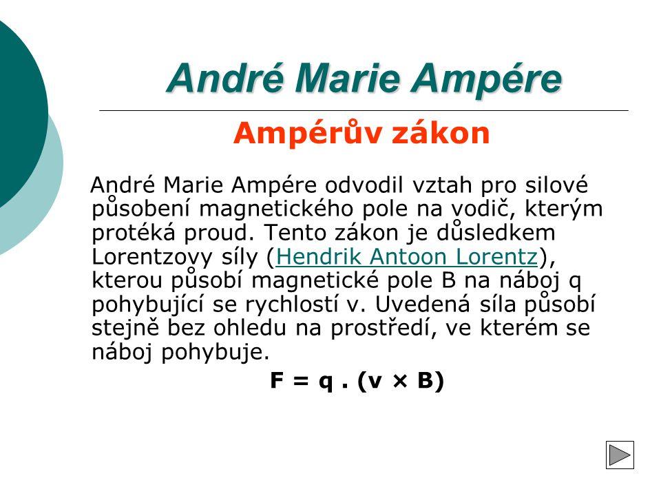 André Marie Ampére André Marie Ampére odvodil vztah pro silové působení magnetického pole na vodič, kterým protéká proud. Tento zákon je důsledkem Lor