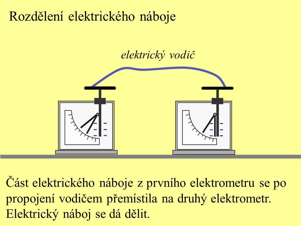 Rozdělení elektrického náboje ------ ------ Část elektrického náboje z prvního elektrometru se po propojení vodičem přemístila na druhý elektrometr. E