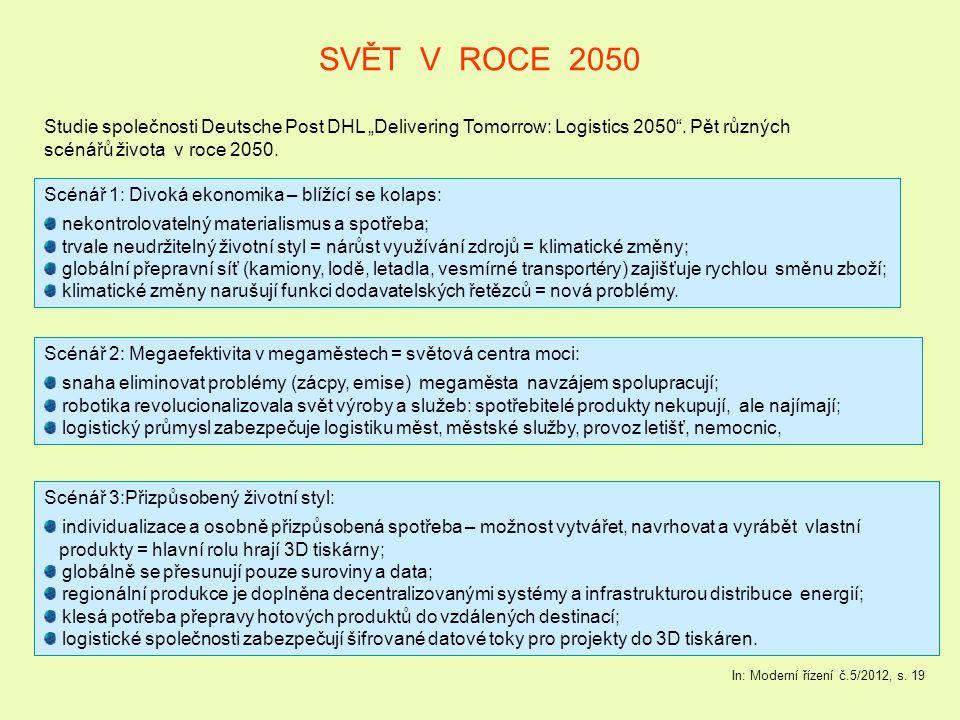"""SVĚT V ROCE 2050 Studie společnosti Deutsche Post DHL """"Delivering Tomorrow: Logistics 2050"""". Pět různých scénářů života v roce 2050. In: Moderní řízen"""