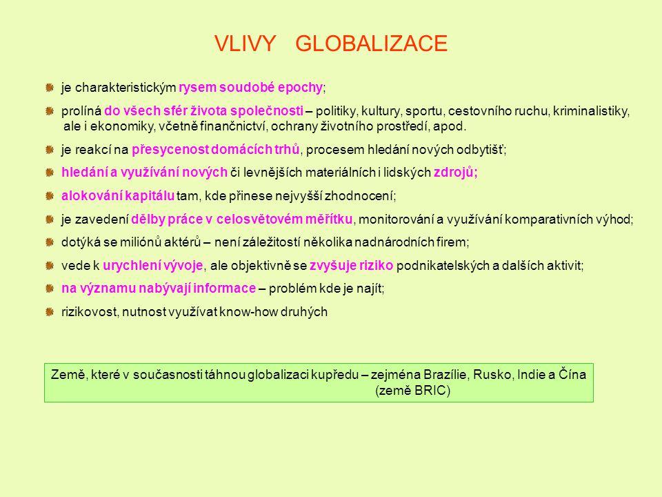 VLIVY GLOBALIZACE je charakteristickým rysem soudobé epochy; prolíná do všech sfér života společnosti – politiky, kultury, sportu, cestovního ruchu, kriminalistiky, ale i ekonomiky, včetně finančnictví, ochrany životního prostředí, apod.
