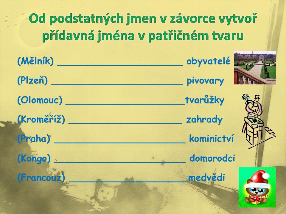 (Mělník) _____________________ obyvatelé (Plzeň) ______________________ pivovary (Olomouc) ____________________tvarůžky (Kroměříž) ___________________ zahrady (Praha) ______________________ kominictví (Kongo) ______________________ domorodci (Francouz) ____________________medvědi