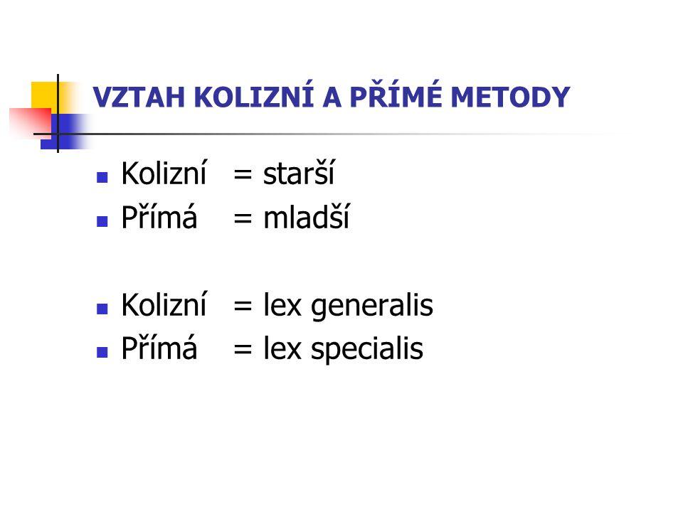 VZTAH KOLIZNÍ A PŘÍMÉ METODY Kolizní = starší Přímá = mladší Kolizní = lex generalis Přímá = lex specialis