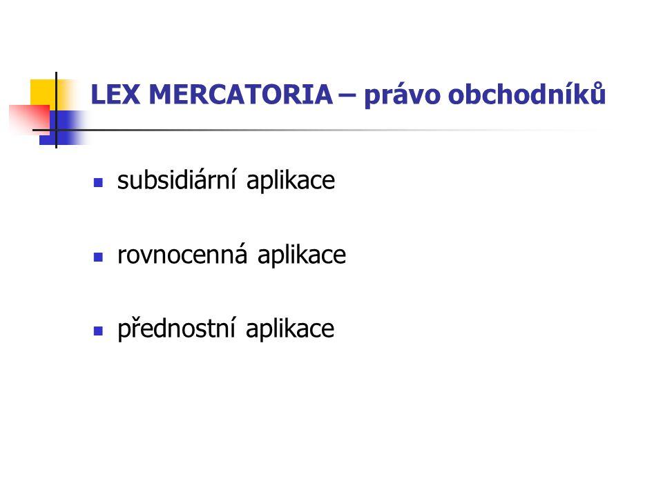 LEX MERCATORIA – právo obchodníků subsidiární aplikace rovnocenná aplikace přednostní aplikace
