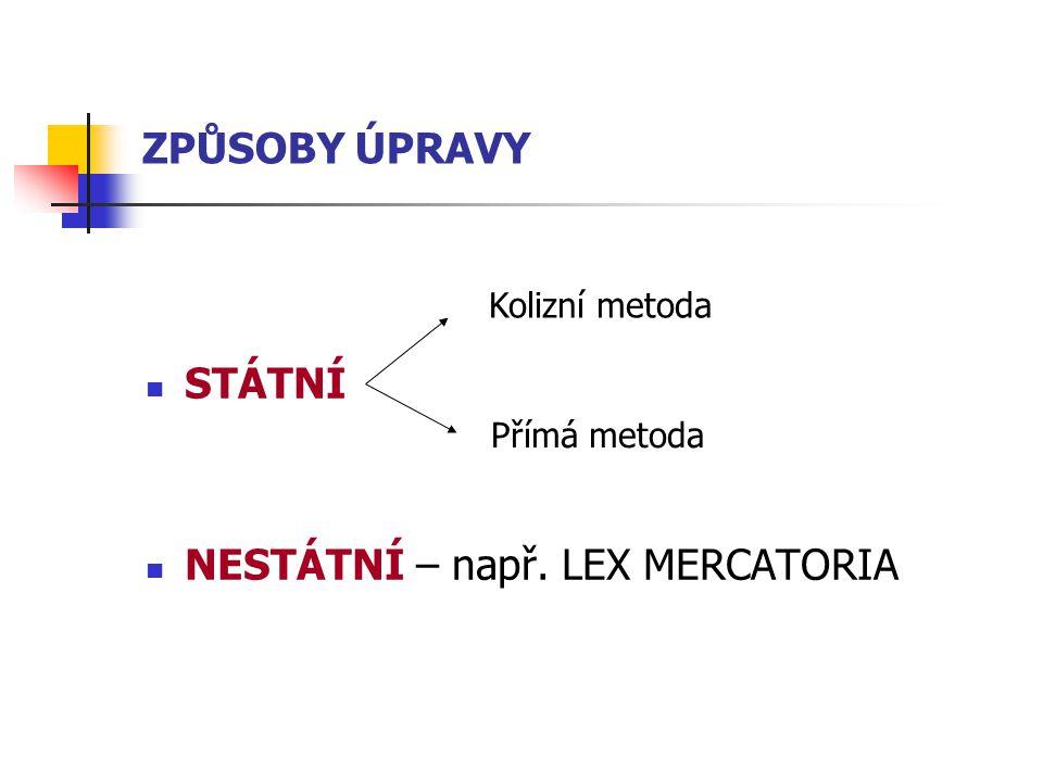 ZPŮSOBY ÚPRAVY STÁTNÍ NESTÁTNÍ – např. LEX MERCATORIA Kolizní metoda Přímá metoda