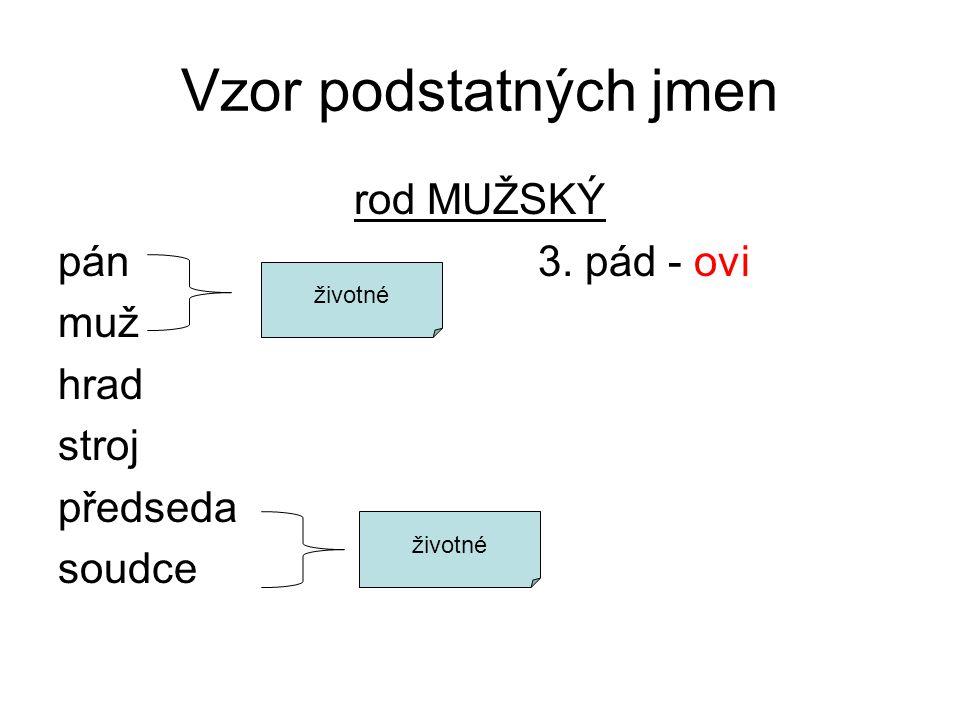 Vzor podstatných jmen rod MUŽSKÝ pán3. pád - ovi muž hrad stroj předseda soudce životné