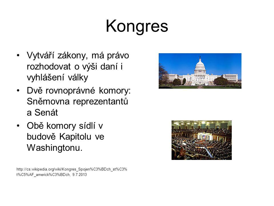 Kongres Vytváří zákony, má právo rozhodovat o výši daní i vyhlášení války Dvě rovnoprávné komory: Sněmovna reprezentantů a Senát Obě komory sídlí v bu