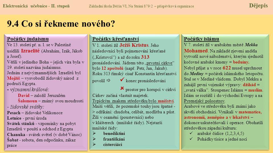 9.4 Co si řekneme nového.Elektronická učebnice - II.