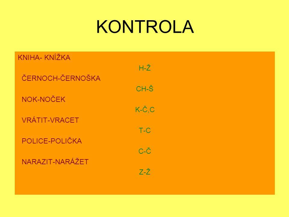 KONTROLA KNIHA- KNÍŽKA H-Ž ČERNOCH-ČERNOŠKA CH-Š NOK-NOČEK K-Č,C VRÁTIT-VRACET T-C POLICE-POLIČKA C-Č NARAZIT-NARÁŽET Z-Ž