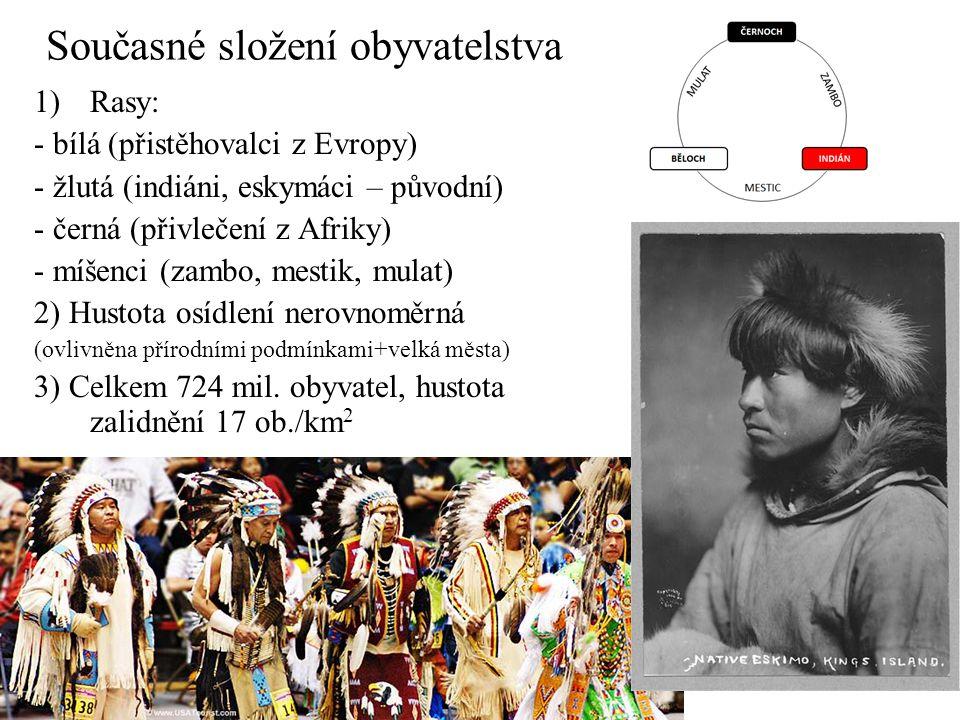 Současné složení obyvatelstva 1)Rasy: - bílá (přistěhovalci z Evropy) - žlutá (indiáni, eskymáci – původní) - černá (přivlečení z Afriky) - míšenci (zambo, mestik, mulat) 2) Hustota osídlení nerovnoměrná (ovlivněna přírodními podmínkami+velká města) 3) Celkem 724 mil.