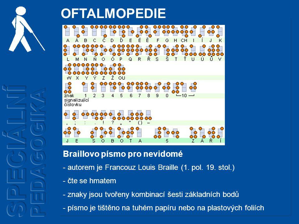 Braillovo písmo pro nevidomé - autorem je Francouz Louis Braille (1.