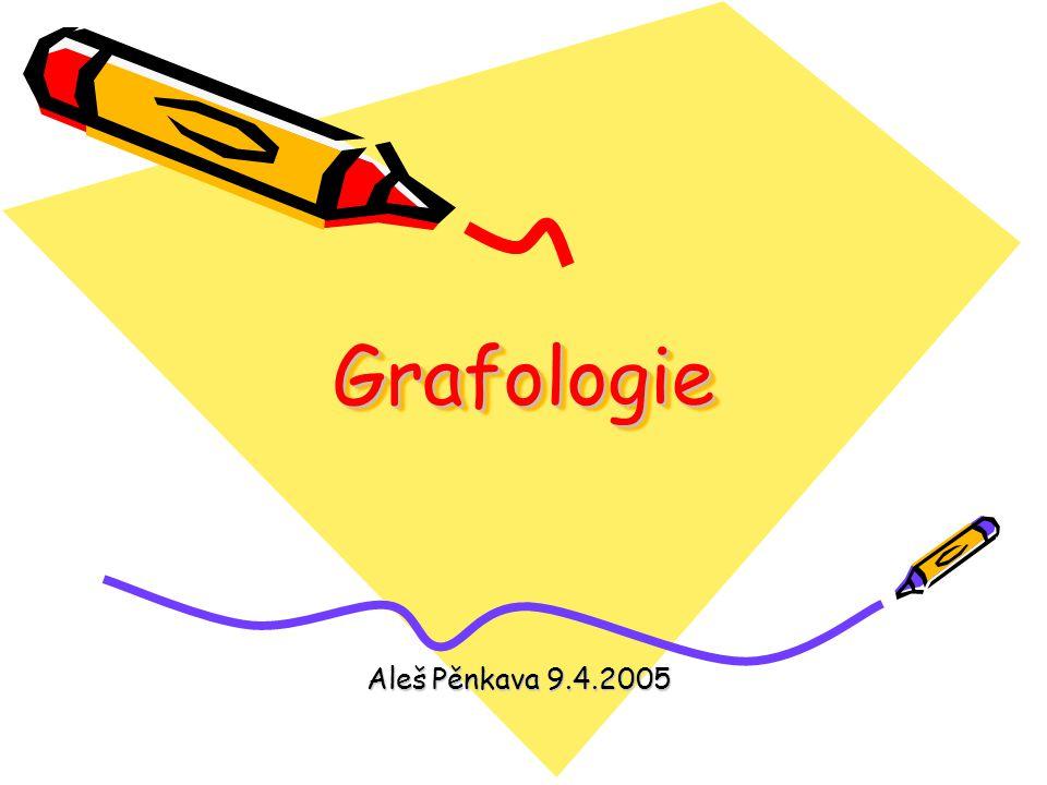 Obsah přednášky Co je to grafologie - čím se zabývá a čím ne Trocha historie Význam a využití Grafologické znaky - rozdělení Grafologické znaky měřitelné, popsatelné a jejich význam + příklady Grafologický rozbor-příklad