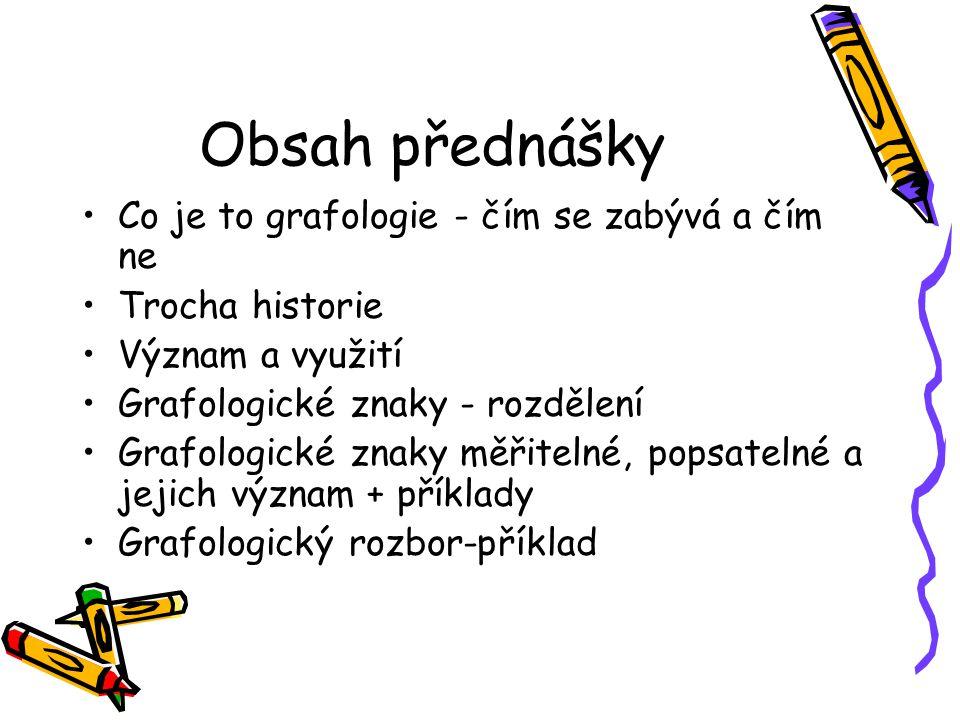 Použité zdroje Grafologie.