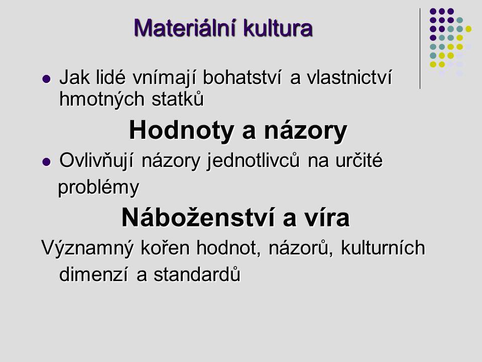 Materiální kultura Jak lidé vnímají bohatství a vlastnictví hmotných statků Jak lidé vnímají bohatství a vlastnictví hmotných statků Hodnoty a názory Hodnoty a názory Ovlivňují názory jednotlivců na určité Ovlivňují názory jednotlivců na určité problémy problémy Náboženství a víra Náboženství a víra Významný kořen hodnot, názorů, kulturních dimenzí a standardů