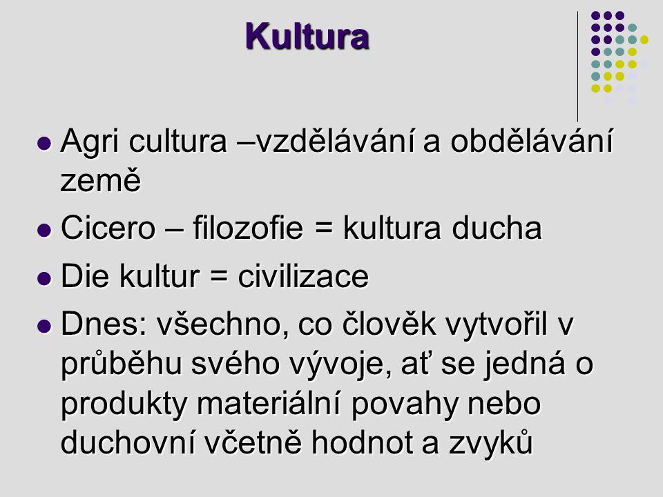 Kultura Agri cultura –vzdělávání a obdělávání země Agri cultura –vzdělávání a obdělávání země Cicero – filozofie = kultura ducha Cicero – filozofie =