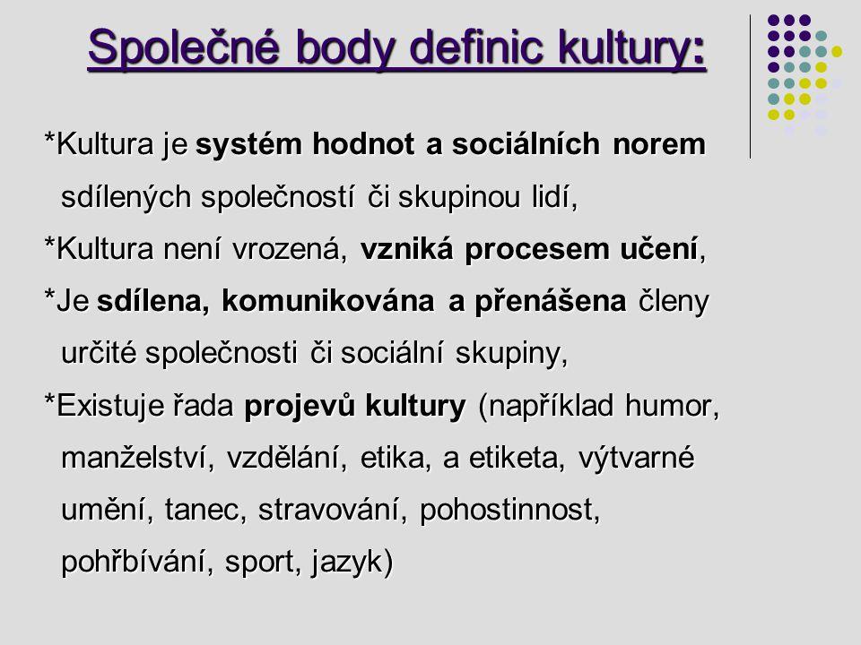 Společné body definic kultury: Společné body definic kultury: *Kultura je systém hodnot a sociálních norem *Kultura je systém hodnot a sociálních nore