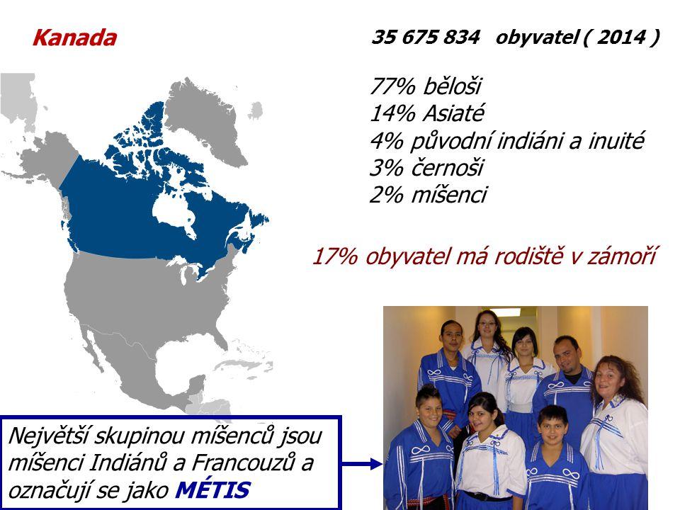 35 675 834 obyvatel ( 2014 ) 77% běloši 14% Asiaté 4% původní indiáni a inuité 3% černoši 2% míšenci Největší skupinou míšenců jsou míšenci Indiánů a