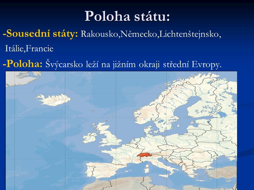 Poloha státu: -Sousední státy: Rakousko,Německo,Lichtenštejnsko, Itálie,Francie -Poloha: Švýcarsko leží na jižním okraji střední Evropy.