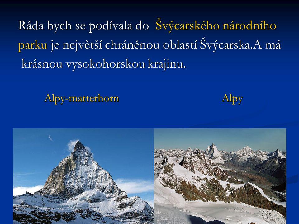 Ráda bych se podívala do Švýcarského národního parku je největší chráněnou oblastí Švýcarska.A má krásnou vysokohorskou krajinu. krásnou vysokohorskou