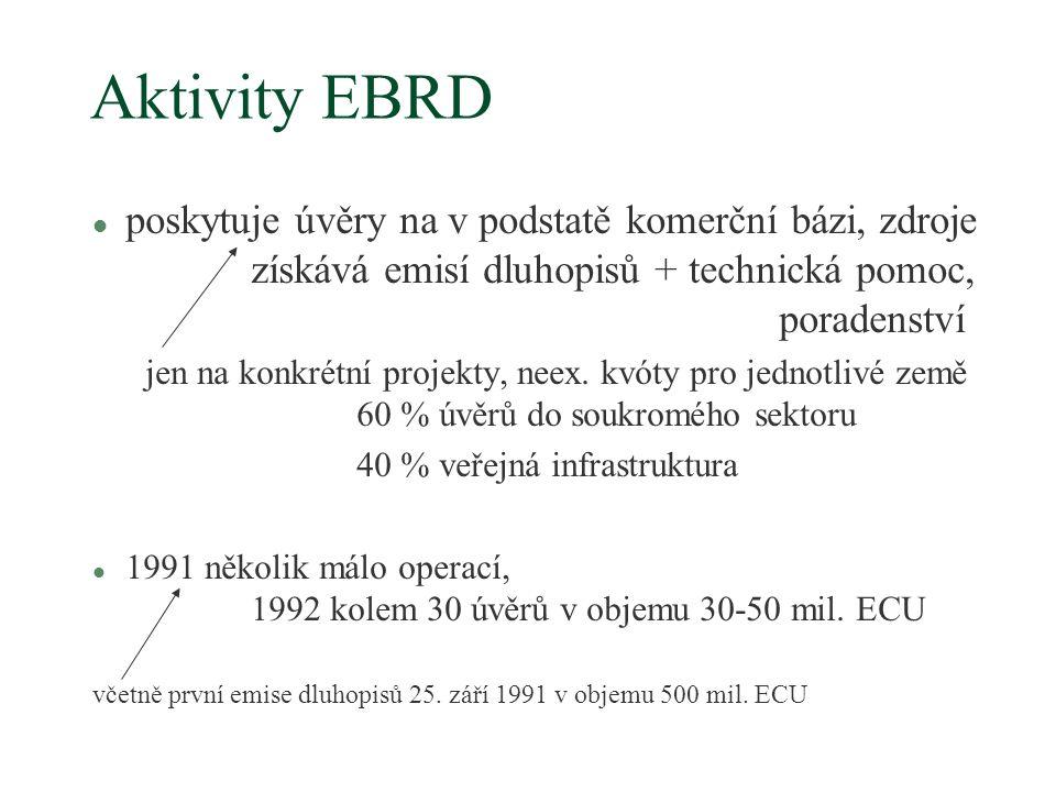 Aktivity EBRD l poskytuje úvěry na v podstatě komerční bázi, zdroje získává emisí dluhopisů + technická pomoc, poradenství jen na konkrétní projekty, neex.