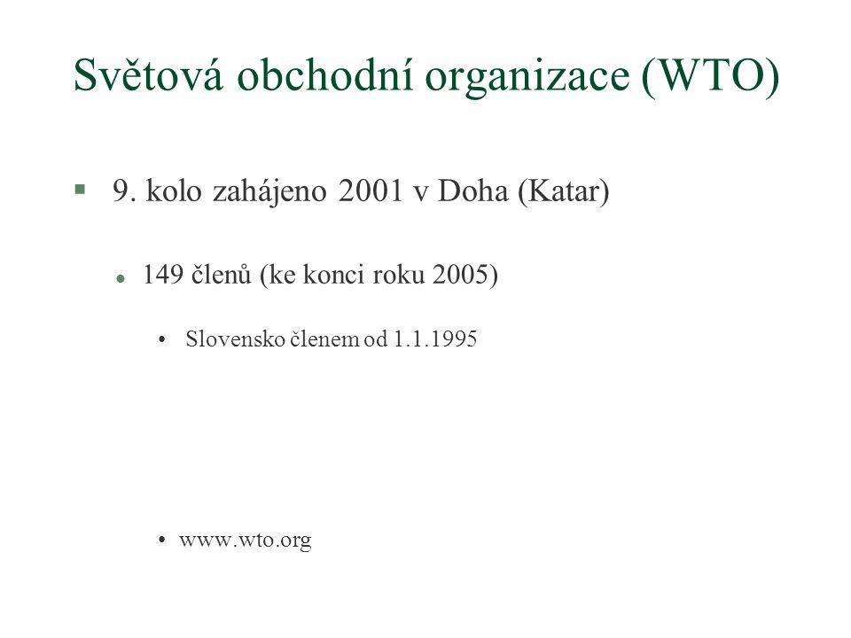 Světová obchodní organizace (WTO) § 9.