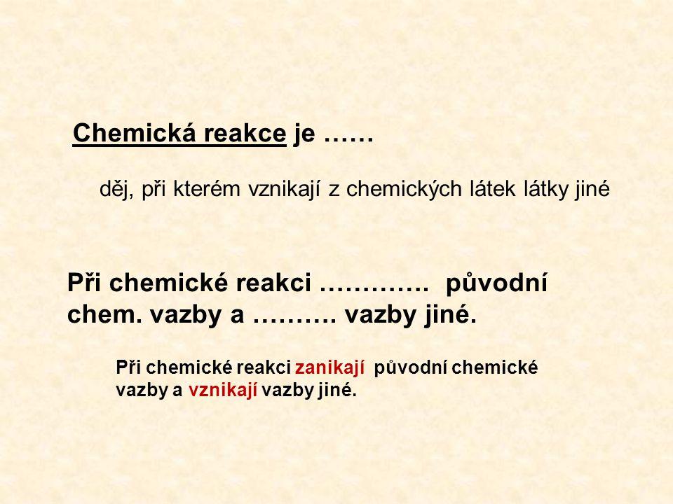 Chemická reakce je …… děj, při kterém vznikají z chemických látek látky jiné Při chemické reakci ………….