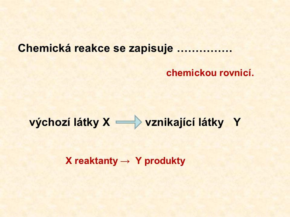 X reaktanty → Y produkty Chemická reakce se zapisuje …………… chemickou rovnicí.