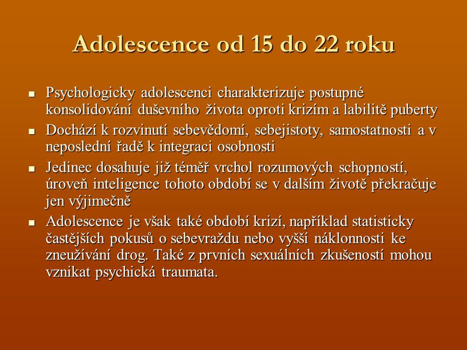 Adolescence od 15 do 22 roku Psychologicky adolescenci charakterizuje postupné konsolidování duševního života oproti krizím a labilitě puberty Psychologicky adolescenci charakterizuje postupné konsolidování duševního života oproti krizím a labilitě puberty Dochází k rozvinutí sebevědomí, sebejistoty, samostatnosti a v neposlední řadě k integraci osobnosti Dochází k rozvinutí sebevědomí, sebejistoty, samostatnosti a v neposlední řadě k integraci osobnosti Jedinec dosahuje již téměř vrchol rozumových schopností, úroveň inteligence tohoto období se v dalším životě překračuje jen výjimečně Jedinec dosahuje již téměř vrchol rozumových schopností, úroveň inteligence tohoto období se v dalším životě překračuje jen výjimečně Adolescence je však také období krizí, například statisticky častějších pokusů o sebevraždu nebo vyšší náklonnosti ke zneužívání drog.