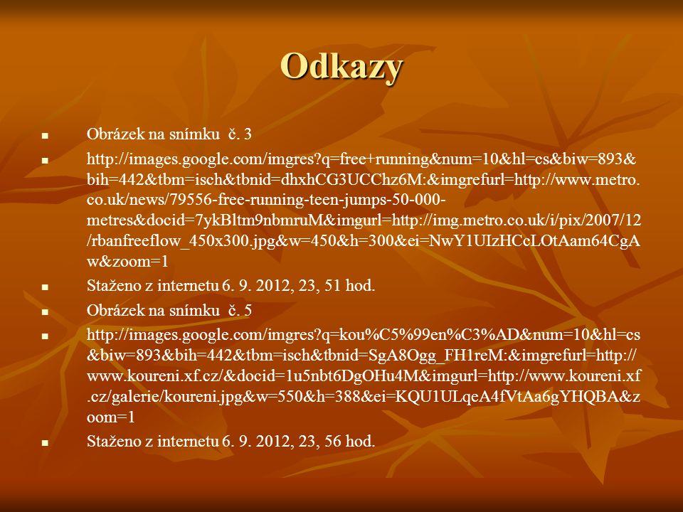 Odkazy Obrázek na snímku č. 3 http://images.google.com/imgres?q=free+running&num=10&hl=cs&biw=893& bih=442&tbm=isch&tbnid=dhxhCG3UCChz6M:&imgrefurl=ht