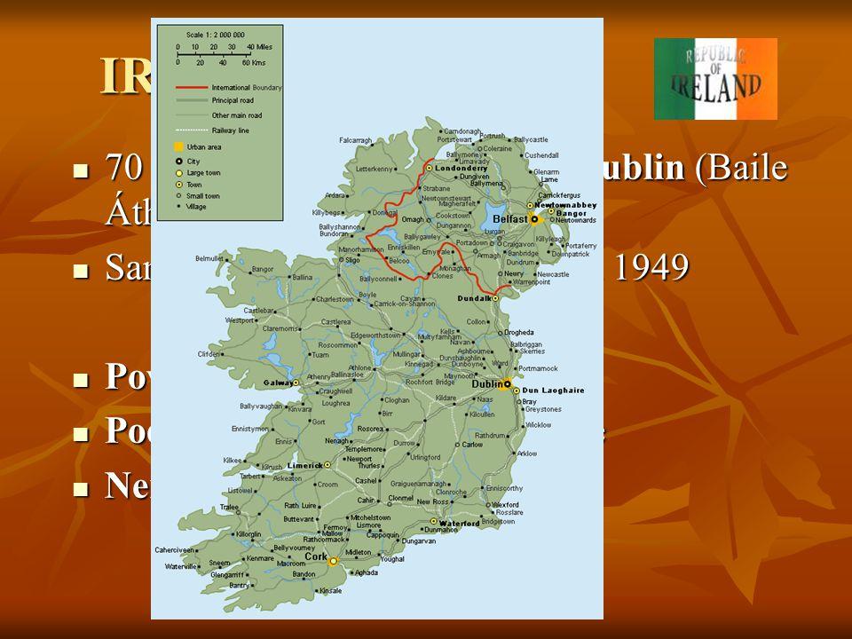 IRSKÁ REPUBLIKA 70 300 km 2, 3,6 mil. obyvatel, Dublin (Baile Átha Cliath) 70 300 km 2, 3,6 mil. obyvatel, Dublin (Baile Átha Cliath) Samostatnost na
