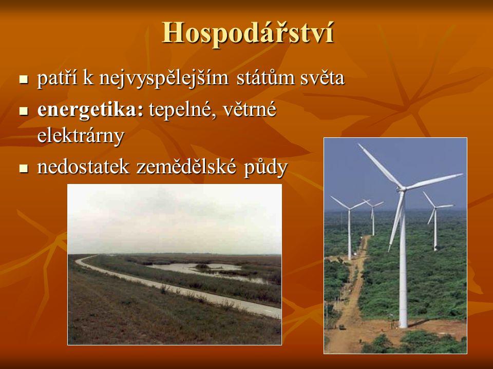 Hospodářství patří k nejvyspělejším státům světa patří k nejvyspělejším státům světa energetika: tepelné, větrné elektrárny energetika: tepelné, větrn