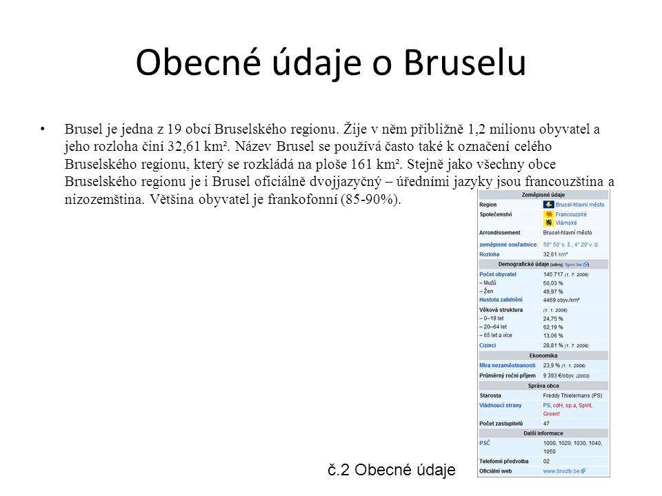Obecné údaje o Bruselu Brusel je jedna z 19 obcí Bruselského regionu.