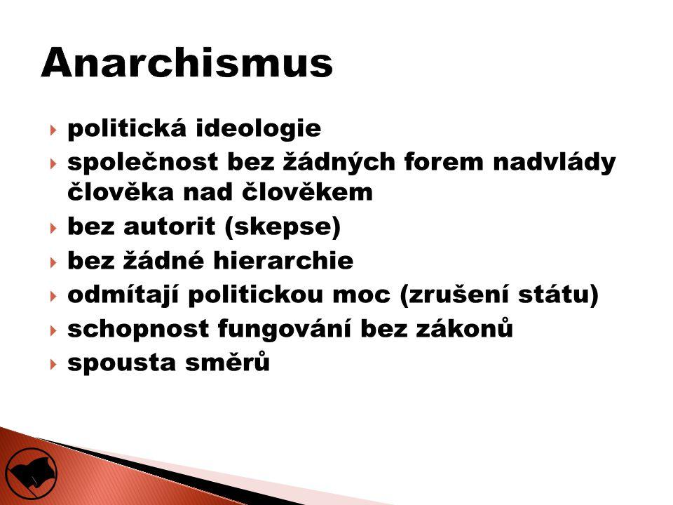  politická ideologie  společnost bez žádných forem nadvlády člověka nad člověkem  bez autorit (skepse)  bez žádné hierarchie  odmítají politickou moc (zrušení státu)  schopnost fungování bez zákonů  spousta směrů