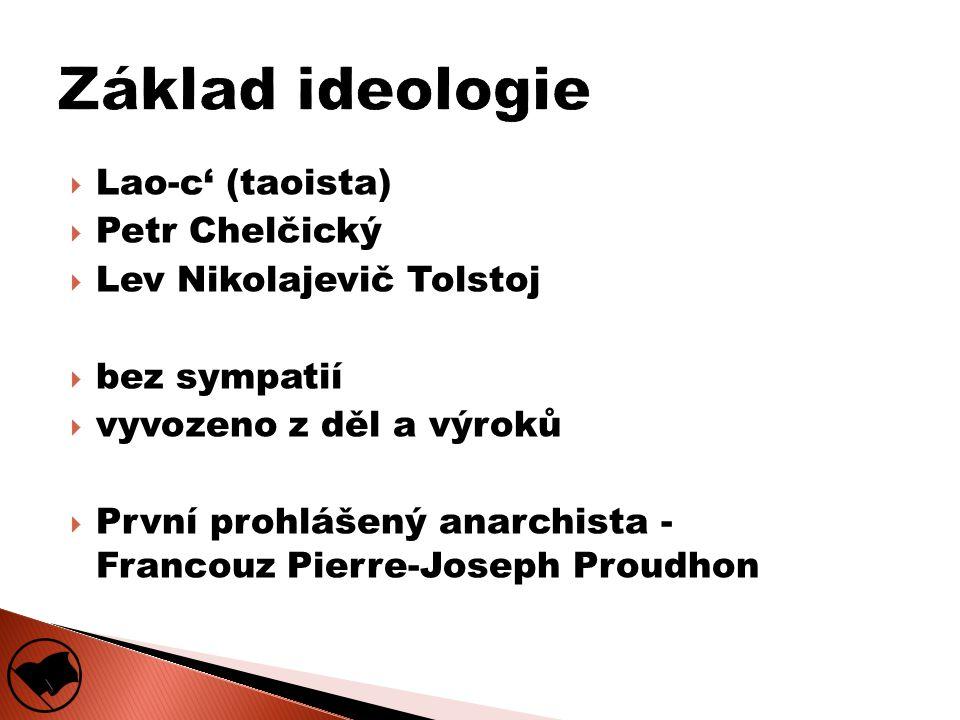  Lao-c' (taoista)  Petr Chelčický  Lev Nikolajevič Tolstoj  bez sympatií  vyvozeno z děl a výroků  První prohlášený anarchista - Francouz Pierre-Joseph Proudhon