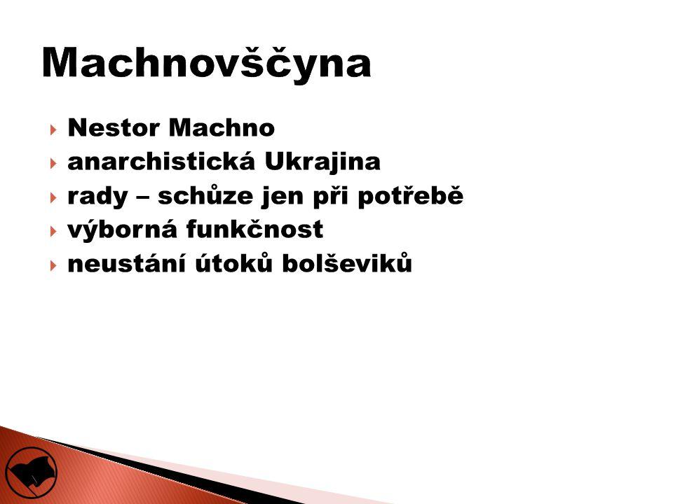  Nestor Machno  anarchistická Ukrajina  rady – schůze jen při potřebě  výborná funkčnost  neustání útoků bolševiků