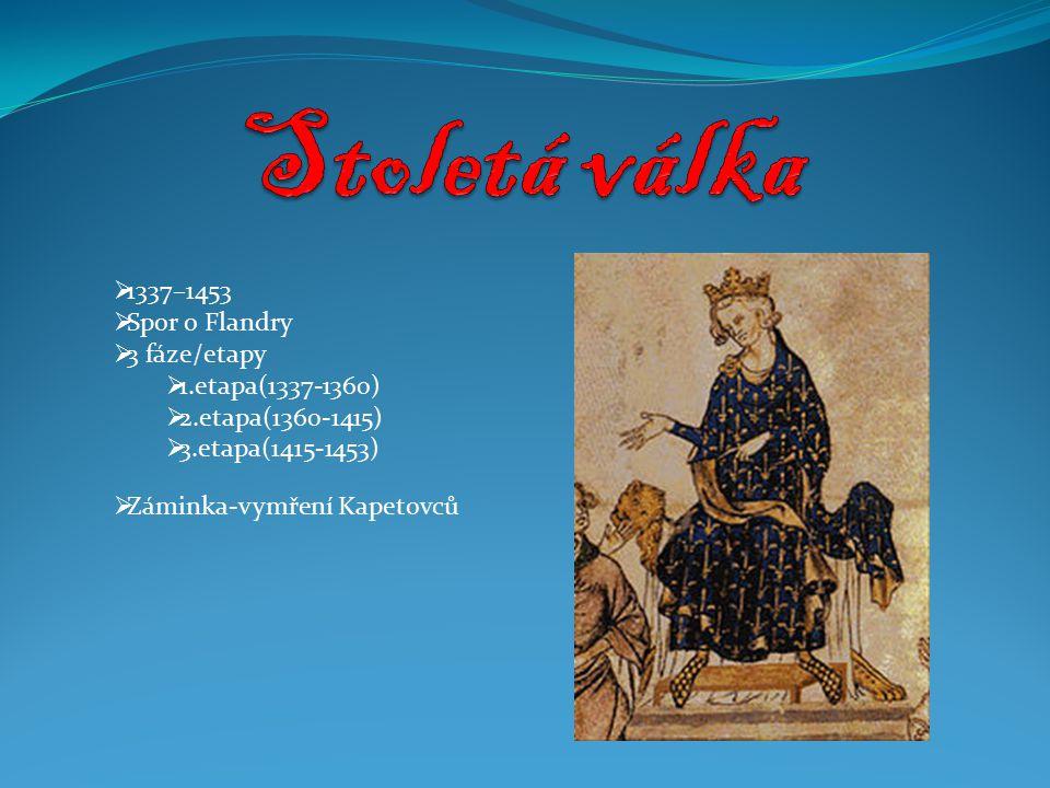  1337–1453  Spor o Flandry  3 fáze/etapy  1.etapa(1337-1360)  2.etapa(1360-1415)  3.etapa(1415-1453)  Záminka-vymření Kapetovců