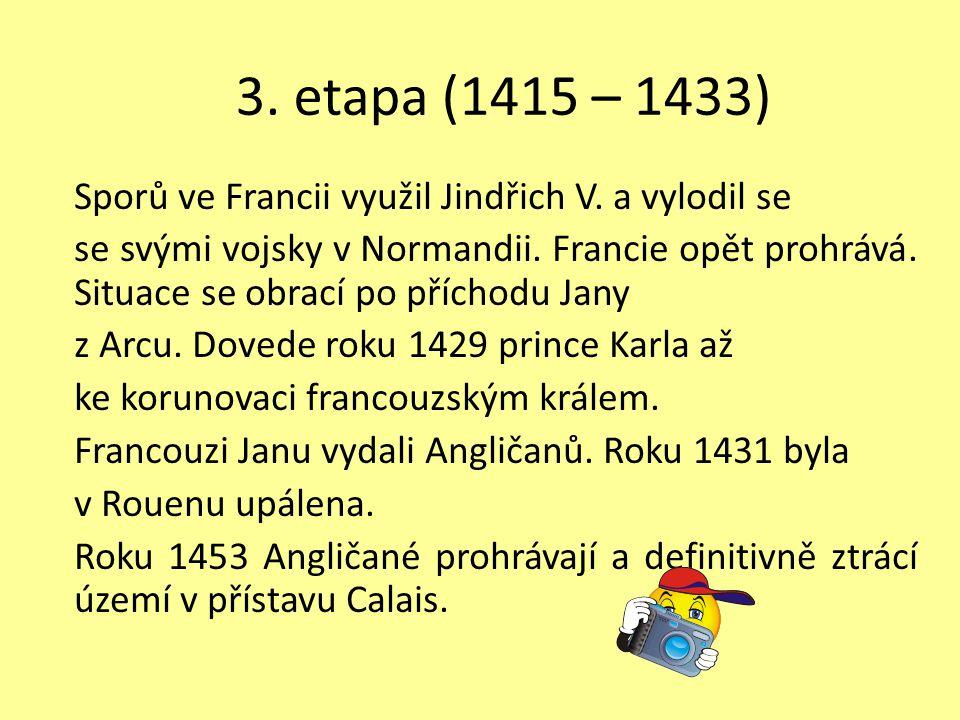 3. etapa (1415 – 1433) Sporů ve Francii využil Jindřich V. a vylodil se se svými vojsky v Normandii. Francie opět prohrává. Situace se obrací po přích