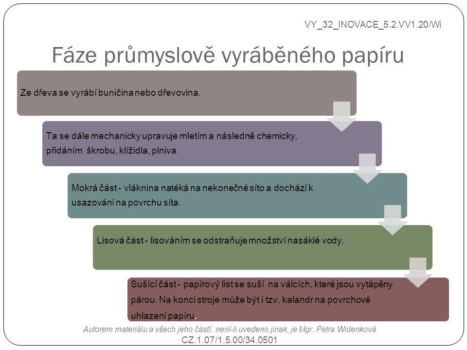 Fáze průmyslově vyráběného papíru VY_32_INOVACE_5.2.VV1.20/Wi Autorem materiálu a všech jeho částí, není-li uvedeno jinak, je Mgr. Petra Widenková CZ.
