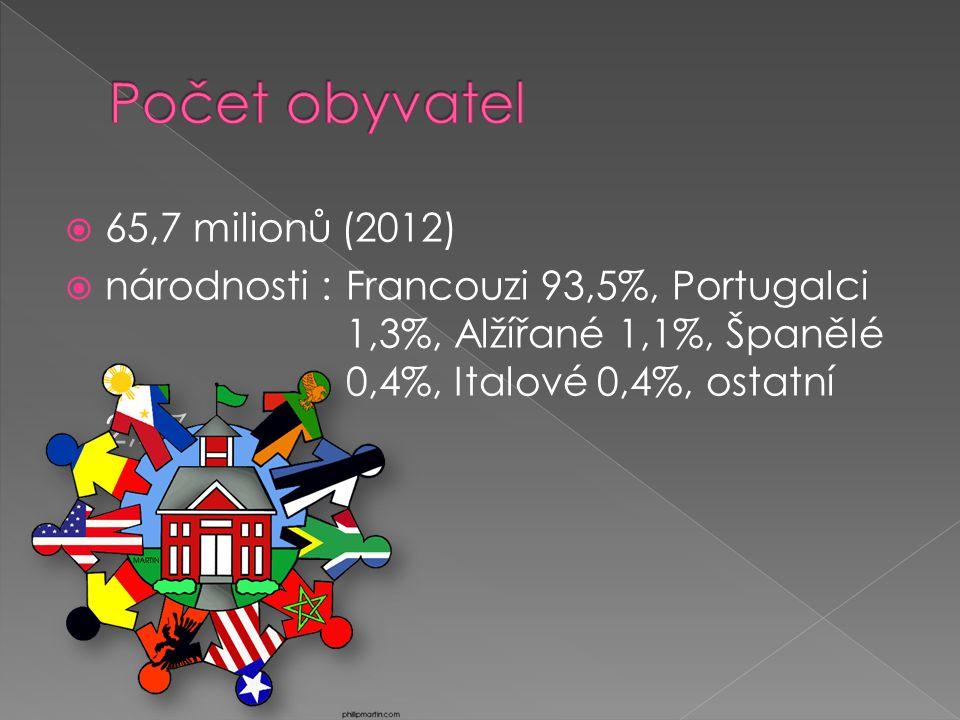  65,7 milionů (2012)  národnosti : Francouzi 93,5%, Portugalci 1,3%, Alžířané 1,1%, Španělé 0,4%, Italové 0,4%, ostatní 2,2%