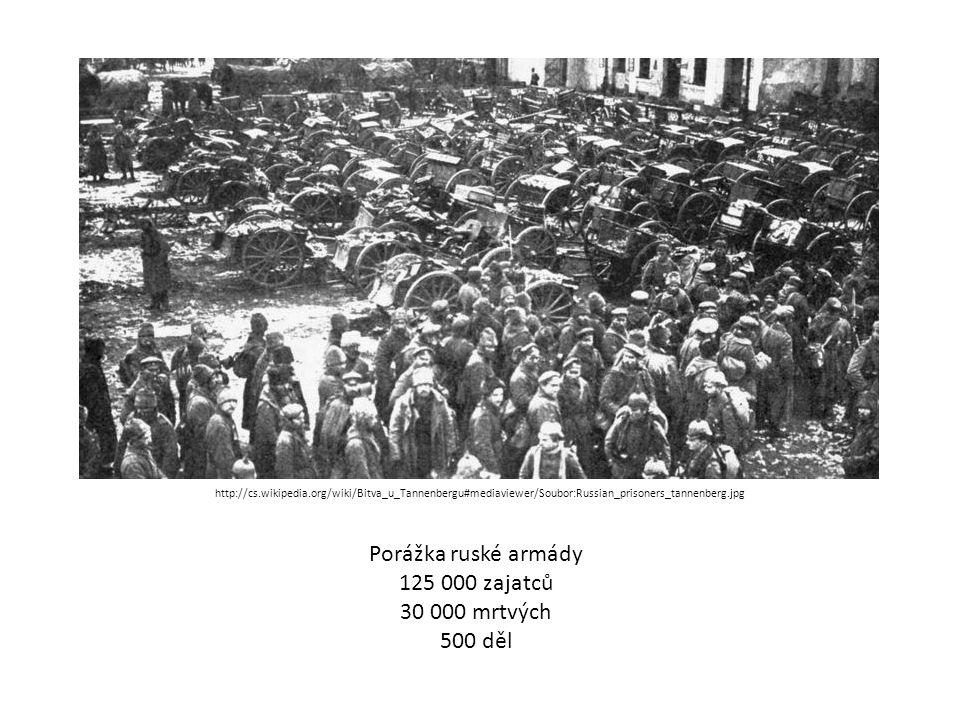 Porážka ruské armády 125 000 zajatců 30 000 mrtvých 500 děl http://cs.wikipedia.org/wiki/Bitva_u_Tannenbergu#mediaviewer/Soubor:Russian_prisoners_tannenberg.jpg