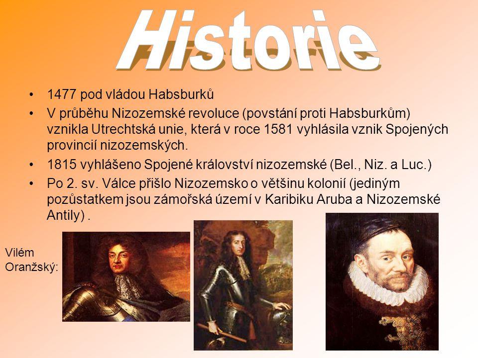 1477 pod vládou Habsburků V průběhu Nizozemské revoluce (povstání proti Habsburkům) vznikla Utrechtská unie, která v roce 1581 vyhlásila vznik Spojený