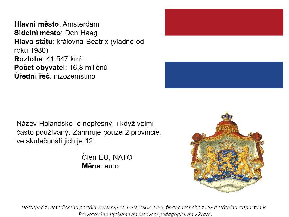 Hlavní město: Amsterdam Sídelní město: Den Haag Hlava státu: královna Beatrix (vládne od roku 1980) Rozloha: 41 547 km 2 Počet obyvatel: 16,8 miliónů Úřední řeč: nizozemština Název Holandsko je nepřesný, i když velmi často používaný.