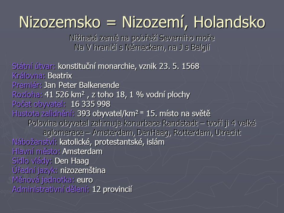 Nizozemsko = Nizozemí, Holandsko Nížinatá země na pobřeží Severního moře Na V hraničí s Německem, na J s Belgií Státní útvar: konstituční monarchie, vznik 23.