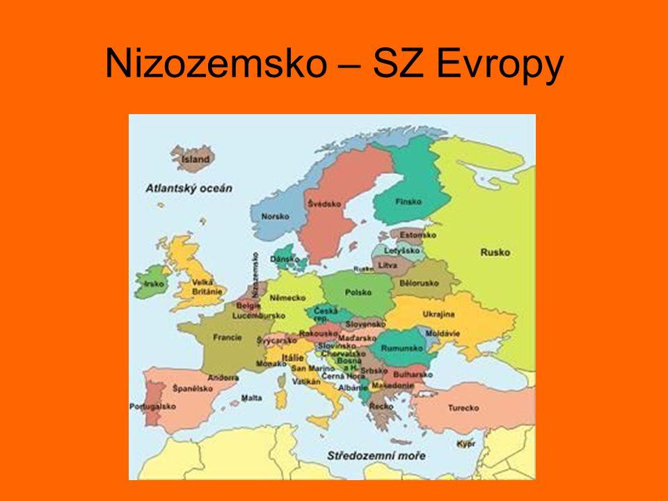 Nizozemsko NENÍ Holandsko Nederland = nízká země Součást Nizozemského království Král Vilém Alexandr Člen Evropské unie Měna: euro