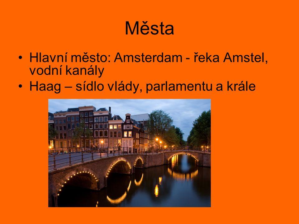 Města Hlavní město: Amsterdam - řeka Amstel, vodní kanály Haag – sídlo vlády, parlamentu a krále