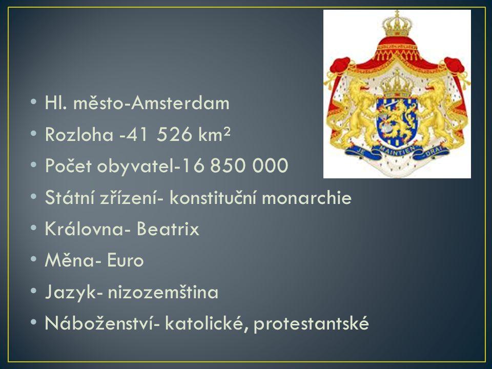 Hl. město-Amsterdam Rozloha -41 526 km² Počet obyvatel-16 850 000 Státní zřízení- konstituční monarchie Královna- Beatrix Měna- Euro Jazyk- nizozemšti